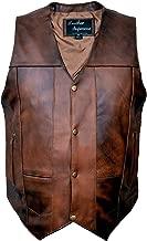 Leather Supreme Men's Ten Pocket Brown Buffalo Hide Leather Vest W Holster