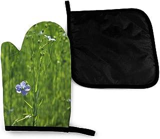 Caps big 1 Guante para Horno Resistente al Calor y Tapa para Olla, Material Aislante de poliéster Duradero, Antideslizante, Resistente al Agua, Seguro para Hornear Barbacoa(Flowers Flax Field)