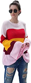 Women's Casual Rainbow Oversized Crochet Chunky Color Block Stripe Cable Knitted Crew Pullover Sweaters