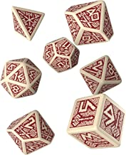 Q WORKSHOP Dwarven Beige & Burgundy RPG Ornamented Dice Set 7 Polyhedral Pieces