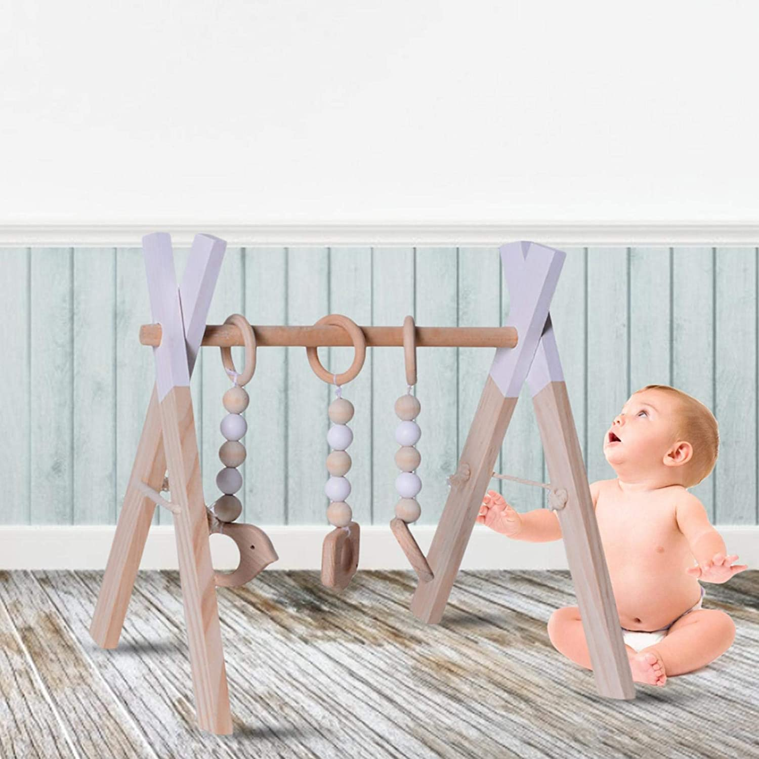 Activity Center Hanging Bar for Babies Over 3 Months Old 2 Colours Funny Supply Wooden Newborn Gym with 3 Gym Toys Foldable Baby Play Gym Frame Wooden Baby Gym Frame