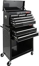 AREBOS werkplaatswagen | zwart | Gereedschapswagen 9 vakken | inclusief gereedschapskoffer | leeg | Laden met antislipmatt...