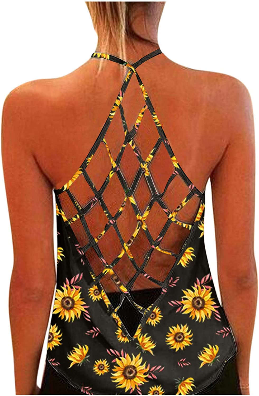 Womens Sexy Vest Hollow Back Sunflower Print O-Neck Sexy Blouse Vest Fashion Tank Top
