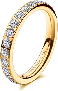 JINEAR 3mm Wedding Bands for Women Eternity Ring 18K Gold Plated Cubic Zirconia Engagement Rings Stackable Anniversary Pro...