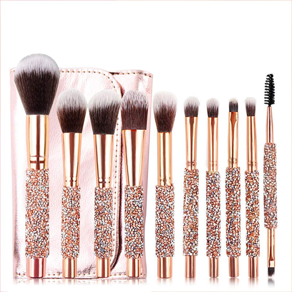 10Pcs Set Gold Diamond Sales results No. 1 Makeup Las Vegas Mall Ey Blending Foundation Brushes