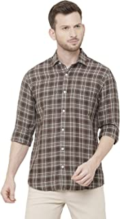 CAVALLO by Linen Club Brown Checked Casual Regular Fit Shirts for Men
