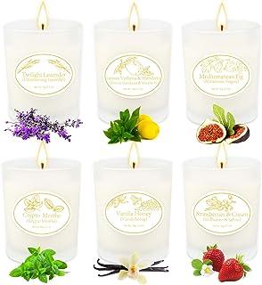 Velas Aromaticas Juego de 6 Piezas, Cera de Soja Regalo 6 Latas Aromaterapia Regalos, Aromaterapia Decoración para Relajac...