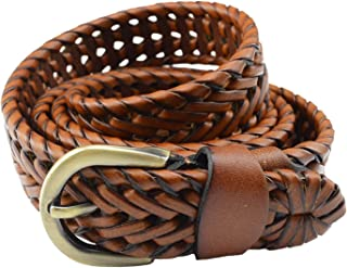 T-PERFECT LIFE Women's Trendy Retro Leather Braided Belt with Bronze Buckle