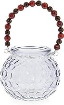 Boho Traders Glass Tealight Holder with Beaded Handle, Grey