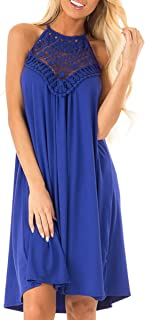 Womens Halter Neck Lace Patchwork Backless Loose Tunic Tank Dress Sleeveless Casual Top Dresses