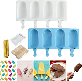 GIFZES (2pcs)4 Cavities Oval Shaped Ice Cream Mold Silicone Cake Mold High Temperature Resistance Reusable Washable Mould ...