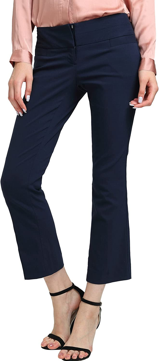 YTUIEKY Women's Bootcut Stretch Dress Pants Fit Stretchy Trousers Basic Office Stretch Pants