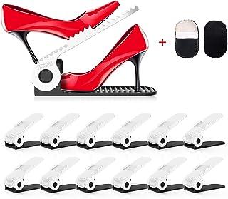 PREUP Organizador Zapatos Set de 12pcs Soporte de Calzado de 4 Niveles Altura Ajustable Organizadores de Zapatos para Arma...