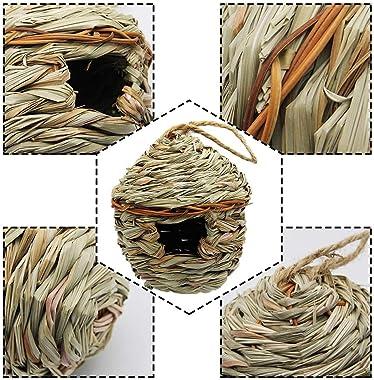 winemana Grass Hand Woven Birdhouse, Outside Grass Hanging Bird Hut, Natural Hummingbird Nest for Outdoor, 2 Pack (Reed)