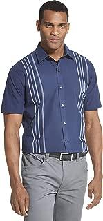 Men's Air Short Sleeve Button Down Panel Stripe Shirt