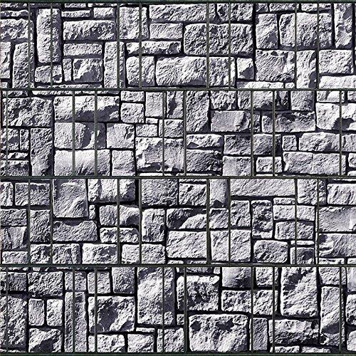 Clôture brise-vue pour panneaux double-fil avecrails de serrage Steinlabyrinth