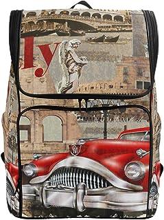 MONTOJ Italia Ancient Architecture y Rojo Coche al Aire Libre Senderismo Mochila de Senderismo y Viaje con Compartimento para portátil y Mochila de Camping