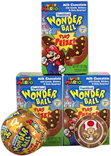 Frankford Super Mario Milk Chocolate Wonderball with Candy and Surprise Character Token Inside Box, 1 oz, Pack of 3