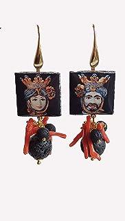 Orecchini Pendenti con Mattonelle in Ceramica di Caltagirone e Pietra Lavica