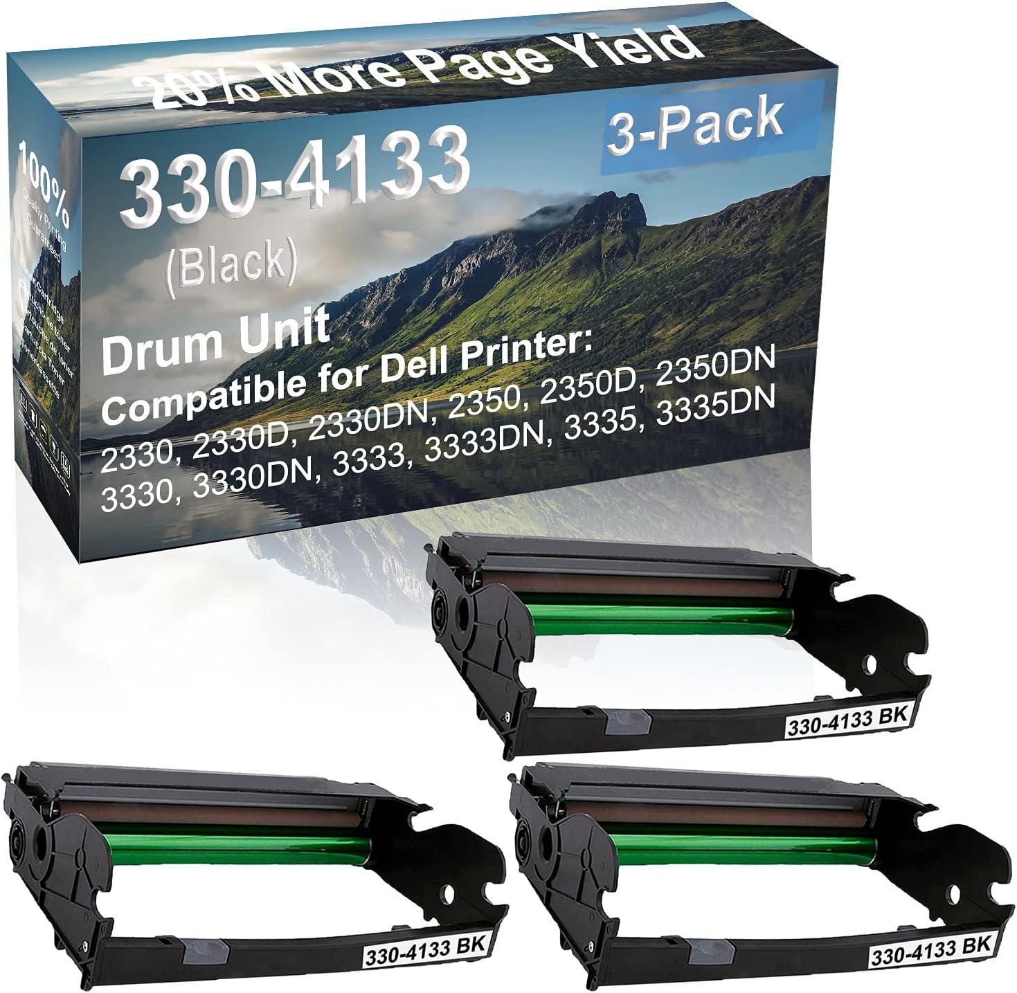 3-Pack (Black) Compatible 2350D, 2350DN, 3330, 3330DN Printer Drum Unit Replacement for Dell 330-4133 Drum Kit