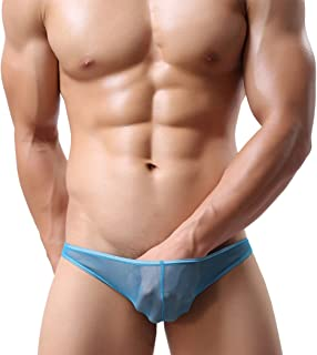 Youngshion Men Sexy Low Waisted G-String See-Through T-Back Thong Meshy Underwear Bfief