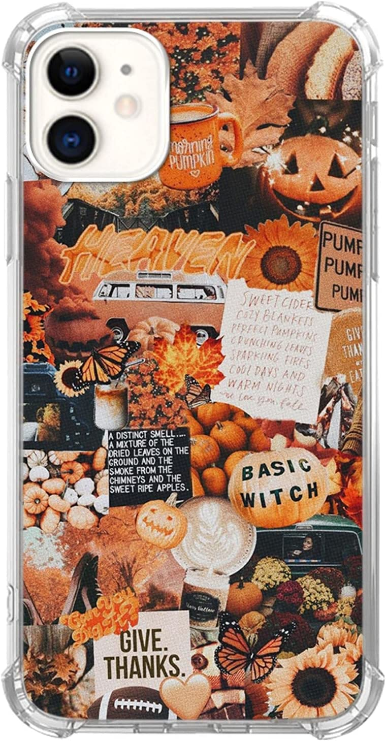 Autumn Collage Pumpkin Witch Halloween Case for iPhone 11 Pro Max, Retro Aesthetic Pumpkin Case for Girls Women Men, Cool Trendy TPU Bumper Cover Case for iPhone 11 Pro Max