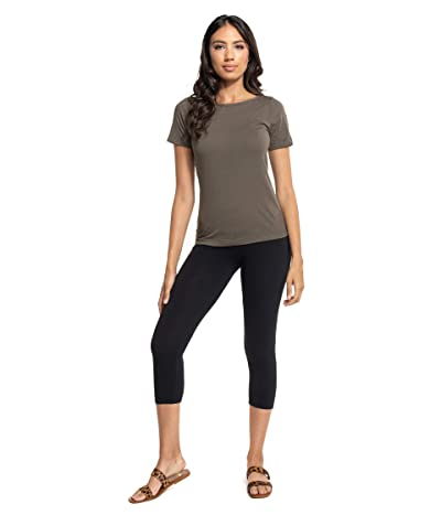 Hard Tail Organic Flat Waist Capris (Black) Women