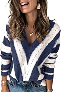 Womens Long Sleeve Deep V Neck Hand Knit Striped Sweater...