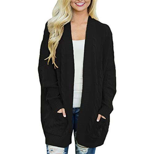 45781f9e56 FIYOTE Womens Casual Open Front Knit Cardigan Long Sleeve Sweater Coat with  Pocket