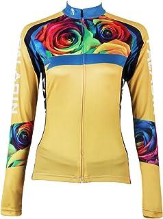 Ilpaladino de Manga Larga de Las Mujeres Rosa Jersey Blusas Licras de Ciclismo con protección UV