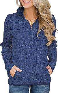 Asvivid Women 1/4 Zip Up Stand Neck Long Sleeve Sweatshirt Loose Casual Pullover Jacekts Tops