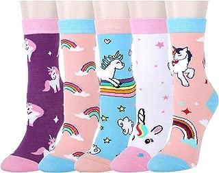 5 Pack Girls Novelty Cute Unicorn Socks, Colorful Fun Animal Pattern Gifts Box
