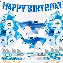 Shark Birthday Party Supplies, 40pcs Shark Theme Birthday Decorations - include Shark Balloons, Shark Birthday Banner, Shark Cake Topper for Ocean Theme Birthday Party
