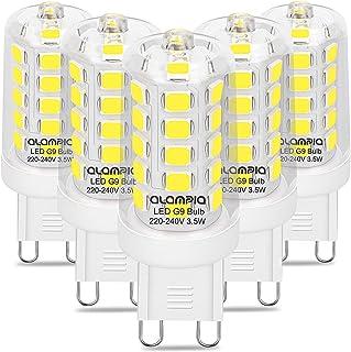 Bombilla LED G9, 3.5W luz Blanca Fría, 6000K, 5 Unidades de 500 Lúmenes, luz Blanca Natural, Sustituye a Bombillas Halógenas G9 de 40W, Bombilla G9 con Casquillo Estándar, Casquillo G9, Larga Duración