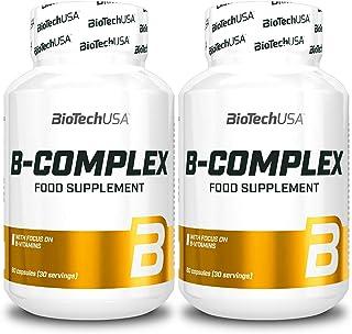 Vitamin B-Complex | Complemento alimenticio | Contiene Vitaminas B6 B12 Biotina y Ácido Fólico | Aumenta la inmunidad (120 cápsulas = 2 botellas)