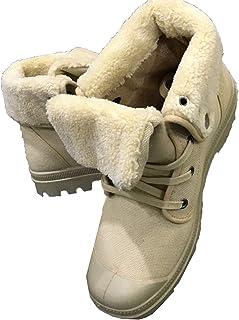 OROSUA Bottines pour Hommes Denim Toile Doublure Chaude à Lacets Haut Chaussures antidérapantes en Plein air Hiver Chaussu...