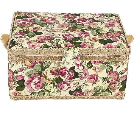 Panier à coudre, grand panier à coudre, boîte de rangement pour kit de couture, poignée flexible à 260 °, boîte de rangement en bois pour panneau de fond en bois (3 couleurs)(Rose)