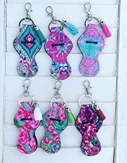 Set of 6 Floral Pattern Neoprene Travel Keychain Case for Essential Oil Roller Bottles, Lipstick, Lip Balm, Lip Gloss, Mascara, Standard Roll-on Leather Tassel Diffuser & Swivel Clasp Spring