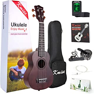 Kmise Beginner Ukulele Kit 4 String Vintage Soprano Ukele Right Hand 21 Inch Hawaiian Ukuleles With Starter Pack (Gig Bag ...