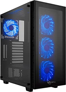 Rosewill ATX Mid Tower Gaming PC Computer Case with Blue LED Fans, 360mm AIO Water Cooling Radiator Support, 3 Sided Tempered Glass, Great Cable Management/Airflow - CULLINAN MX-Blue