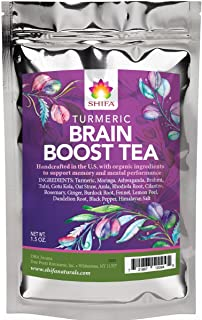 Shifa Brain Boost Tea With Turmeric: Rejuvenating Tonic Enhances Memory, Focus and Mood with Herbs, Phytonutrients and Antioxidants — 1.5 oz.