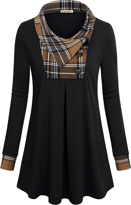 Unixseque Women's Casual Long Sleeve Tunic Top Lapel Pullover Flowy Sweatshirt