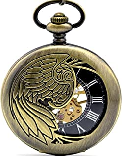 Luxury Mechanical Pocket Watch Eagle/Angel/Phoenix Wings Hollow Skeleton Steel Bronze Pendant