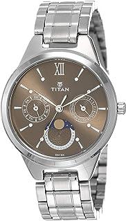 ساعة يد نيو بمينا بني وعرض انالوج مع اطوار القمر للنساء من تيتان