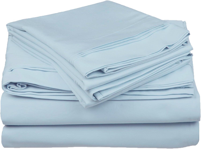 Superior 100% Egyptian Cotton 5-Piece Solid Sheet Set, Split King, Baby bluee