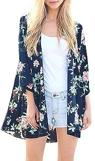 Women's 3/4 Sleeve Floral Kimono Cardigan, Sheer Loose Shawl Capes, Chiffon Beach Cover-Up,...