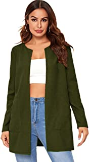 Verdusa Women's Open Front Round Neck Cardigan Duster Coat with Pocket