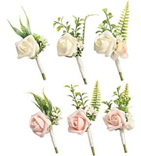 Ling's moment Boutonnieres for Men Wedding Boutonnieres with Pins for Groom Best Man Artificial Flower for Wedding Party Prom Man Suit Wedding Decorations (Set of 6)