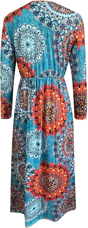 Maxi Dress for Women Casual Vintage Floral Skirt Fashion Long Sleeve Draw Back O-Neck Pocket Long Dress