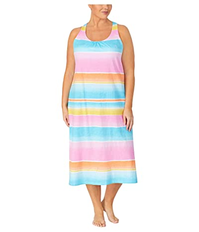 LAUREN Ralph Lauren Plus Size Slub Jersey Knit Sleeveless Twisted Back Ballet Gown with Soft Bra (Multi Stripe) Women